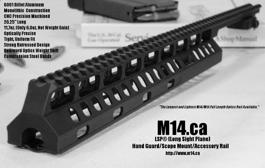 M14/M1A LSP Long Sight Plane Handguard, Scope Mount, Accessory Rail